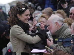 Britain's Prince William, and his fiancee Kate Middleton meet members of the public as they attend the Naming Ceremony and Service of Dedication of the Atlantic 85 Lifeboat 'Hereford Endeavour' in north Wales